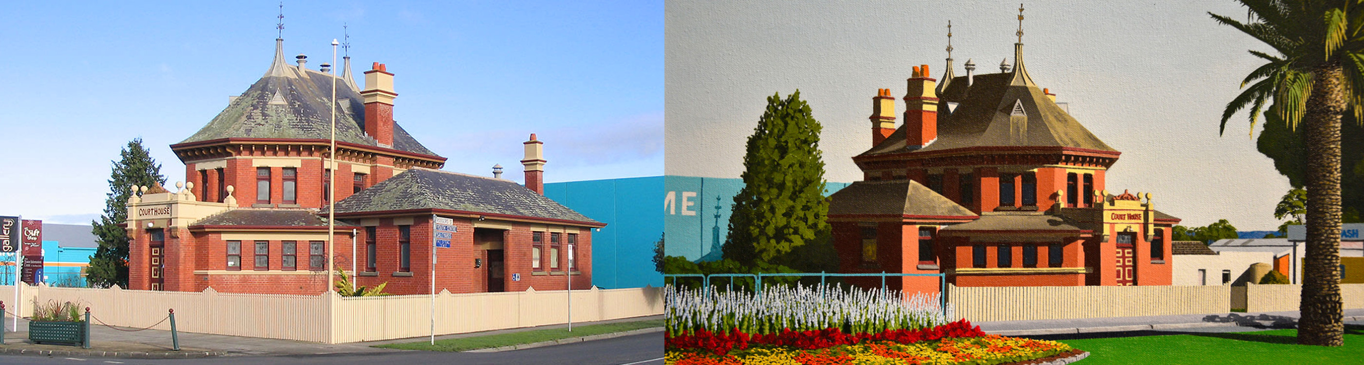 Photo and painting of the Courthouse Gallery in Yarram